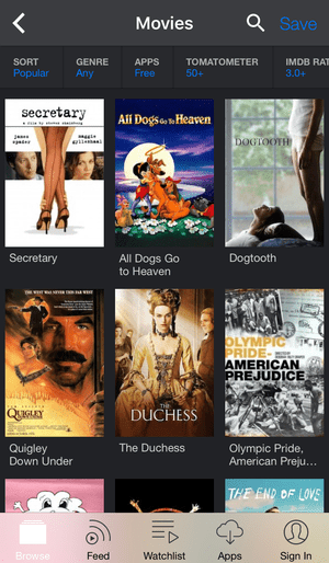 applications pour regarder des films